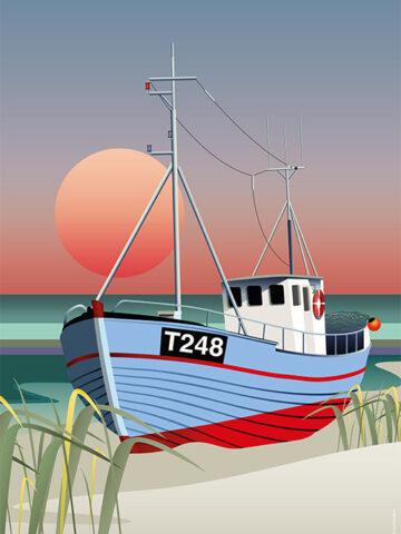 Vorupør plakat. Fiskekutter på stranden. Tegnet grafisk
